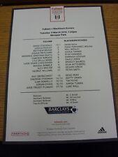 11/03/2014 Fulham U21 v Blackburn Rovers U21 [At Motspur Park] (single sheet tea