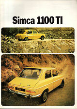 RARE brochure catalogue depliant SIMCA 1100 TI 1100TI