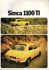 RARE brochure catalogue depliant SIMCA 1100 TI 1100TI