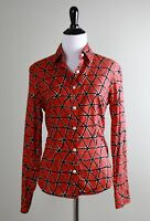 J. MCLAUGHLIN $168 Black Geo Print Brick Red Button Down Shirt Top Size 2