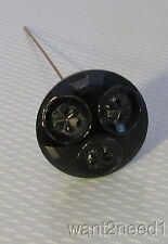 "antique old Jet Black Glass Hatpin 1-7/8"" large faceted daisy flower top"