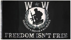 Wounded Warrior Heroism Honor Sacrifice Freedom Isn't Free 3x5 3'x5' Poly Flag