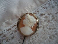 ANTIQUE VINTAGE GENUINE CARVED SHELL CAMEO GOLD OLD HAT PIN STICK PIN