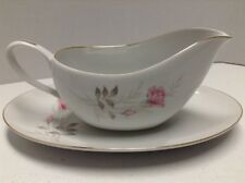 Camelot China American Rose Gravy Boat with Underplate Japan 1655