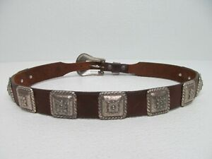 Justin Cowhide Leather Western Belt Engraved Buckle Conchos Size Men's 30