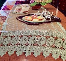 """French Country Rose with Macrame-19""""x72""""Floral -Table Runner-Rose Color,"""
