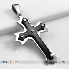 Unisex Men Women Stainless Steel Black Slotted Screw on Angle Cross Pendant 3B
