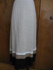 Lafayette 148 Women's 100 Linen Khaki Combo Long Lined Skirt Size 6