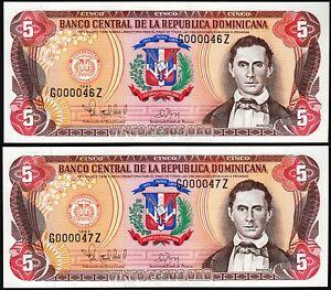 Dominican Republic 5 Pesos Oro, 1997, UNC, LOW G 000046-47 Z, 2 Pcs PAIR, P-152b