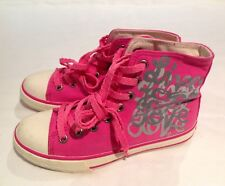 Juicy Couture New Pink Canvas Hi Top Trainers Basketball Boots Girls UK Size 12
