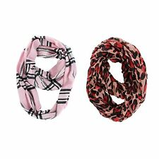 LOT OF 2X ASSORTED FASHION SCARF INFINITY COWL RED LEOPARD & PINK PLAID SCARVES