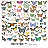 80pcs Butterfly Vintage Stickers DIY Scrapbooking Planner Paper Card Making