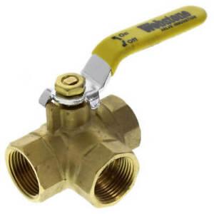 "1/2"" 3 WAY Female L Port 600 WOG NPT Brass Ball Valve  Threaded Plumbing"