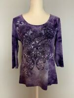 Dressbarn Womens Top Blouse Size S Purple Paisley Scoop Neck Rhinestones
