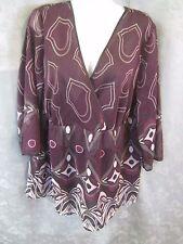Avenue Blouse Size 18 / 20 Sheer Surplice Purple Geometric Print Overblouse NWT