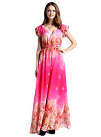 Women's Boho Floral Deep V-neck Ruffled Chiffon Maxi Dress in Pink AUS STOCK 12