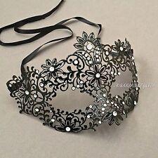 Black Carnival Metal Laser Cut With Rhinestone Princess Venetian Masquerade Mask