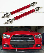 Red Adjustable Front Bumper Lip Splitter Strut Rod Tie Support Bar For Dodge