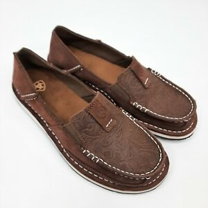 Ariat Womens Cruiser Leather Slip On Size AU 7B Brown Suede Brown Floral Emboss