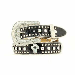 Nocona Girls Western Bling Belt Black Patent Leatherwith Crystal Crosses Size 24