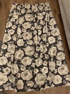 Grey And White Floral Curtains 150 Cm L X 130 Cm W Pencil Pleat