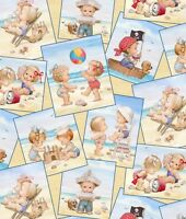 Elizabeth's Studio Beach Kids Photograph Cream 100% cotton Fabric by the yard