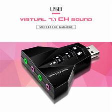 USB 2.0 3D Virtual Audio Sound Card Converter Durable 7.1 Channel Audio AdapWFI