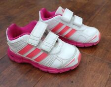 Baby girls Adidas trainers. Pink and white. Size 7