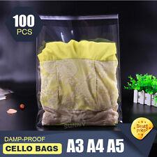 100x A3 A4 A5 Cello Bag  Cellophane Clear Resealable Plastic Self Seal Adhesive