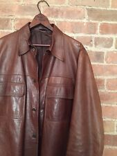 Ideal Cuir Exquisite Vintage Leather Shirt Jacket Size 46 France