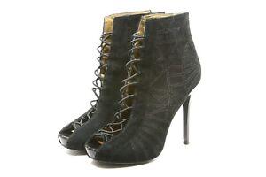 Sam Edelman Queenie Booties Womens Shoes size 6.5 Suede leather Peep toe Heels