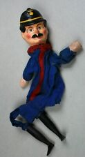 Constable-Cop-Small Head-Mustache-Antique German Composition Hand Puppet-30-NTCX