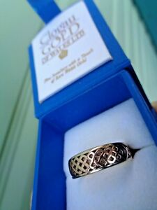 Early Welsh Gold 9ct Clogau gold Celtic Lady Guinevere Ring h/m 2000 - size Q