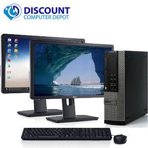 """Dell Windows 10 Pro Desktop Computer Core i5 3.1GHz 8GB 1TB Wifi Dual 22"""" LCD's"""