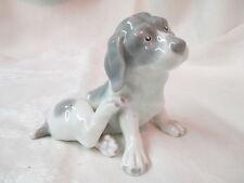 Antique Heubach Bros porcelain Puppy Dog Figurine grey & white signed OH