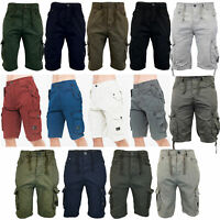 Mens Combat Cargo Shorts Crosshatch Knee Length Cotton Casual Fashion Summer New