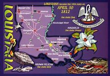 Louisiana, New Orleans Baton Rouge, Pelican, Alligator etc. - State Map Postcard