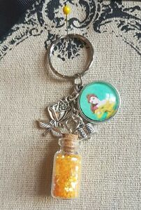 Belle Beauty and the Beast Yellow Glitter Keyring Bag Charm, Decoration Princess