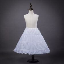 Girls White Petticoat 3 Hoop Basic Skirt Kids Wedding Party Dress Underskirt Hot