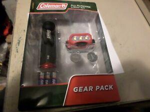 Coleman Gear Pack All Purpose Light Kit Flash Light Head Lamp Batteries New