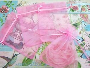 """50 Drawstring Organza Bag 4x6"""" Party Gift/Baby Shower Favors/Big/Pouch NO4-Pink"""