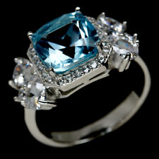 NATURAL 9 X 9mm. SKY BLUE TOPAZ & WHITE CZ  STERLING 925 SILVER RING SZ 7