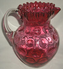 Antique Ruby Pitcher Inverted Thumb Print crimped top clear handle