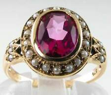 SUBLIME 9CT ART DECO INS PINK TOPAZ & PEARL CLUSTER RING FREE RESIZE