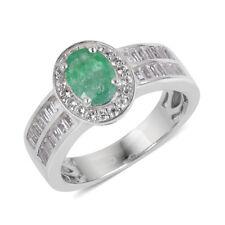 Premium Brazilian Emerald, White Topaz Sterling Silver Ring size 7