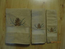 New Embroidered Pinecone & Sprig 3 piece tan towel set, Cabin decor, Northwoods