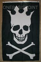 3'x5' Skull With Crown Flag Pirate Crossbones King Jolly Roger Banner Mutiny 3X5