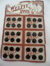 ANTIQUE OLD BLACK WELFIT SPRING STUDS CARD VINTAGE RETRO SEWING CRAFT RE CRAFT