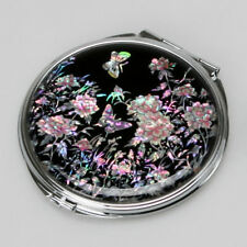 Mother of Pearl Art Deco Engraved Compact Cosmetic Makeup Round Vanity Mirror