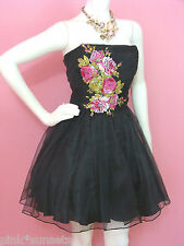 Betsey Johnson Black Gramercy Cocktail Dress  Prom Party Goth Wedding Sequin 10